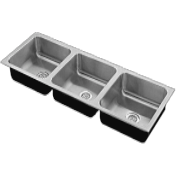 Government Triple Bowl Stainless Steel Sinks - Just Manufacturing