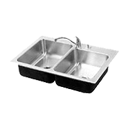 Offset Compartments Double Sink Stainless Steel