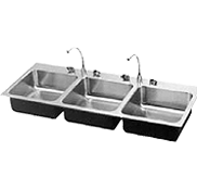 Stainless Steel 3 Bowl Drop-in Sink - Just Manufacturing